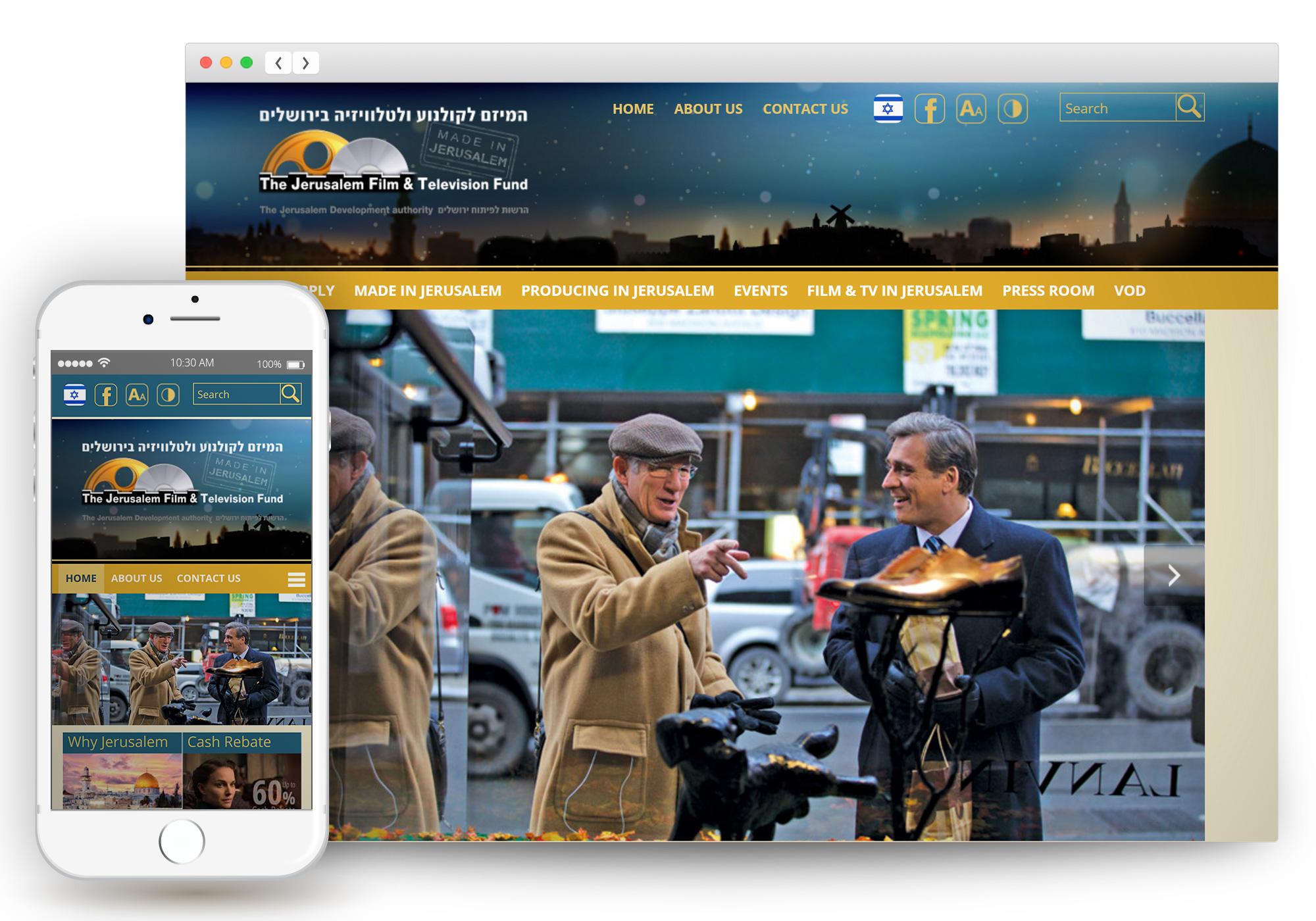 עיצוב ובניית אתר - המיזם לקולנוע בירושלים